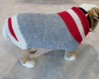 "Dog Sweater Hand Knit English Bulldog Sock Monkey  19"" inches long Merino Wool"