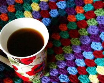 Lily's Garden Striped Granny Afghan crochet pattern - pdf