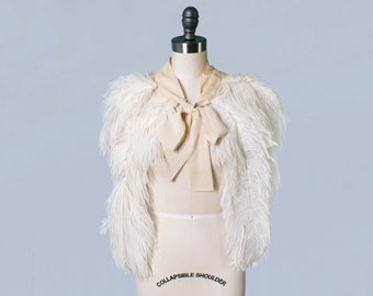 RARE! 1930s Ostrich Capelet / 30s Feather Wedding Shrug Capelet / 1920s 20s  Bridal