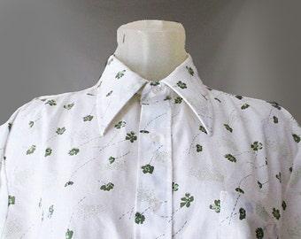 Men's Vintage Flower Shirt - 1960s Green Floral Print Short Sleeve Button Down - 16