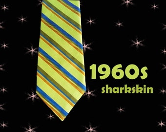 Men's Vintage Sharkskin Necktie - 1960s Iridescent Chartreuse Striped Tie - 60s