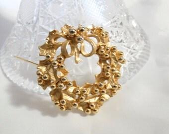 Golden Holly Wreath Brooch Pin