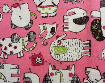 Japanese cotton fabric Elephant printed Half yard Pink colour