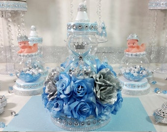 Royal Baby Shower Centerpiece For Royal Baby Shower/Baby Blue U0026 Silver  Centerpiece/Frozen