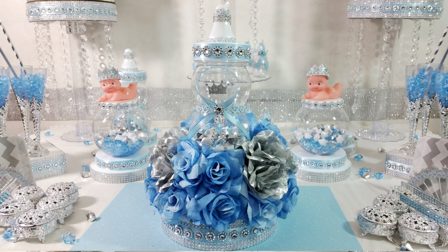 royal baby shower centerpiece for royal baby shower baby blue