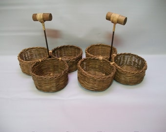 Vintage Wicker Glass Caddy, Set of Two Wicker Caddy's, Wicker Caddy with Handles, Storage Caddy's, Kitchen Caddy, Picnic Caddy,
