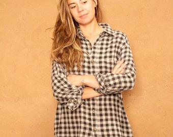 COLOR Block grey & black plaid flannel 90s TWIN PEAKS leo shirt