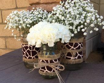 Mason Jar Wrap, Burlap and Giraffe Print, Mason Jar Decoration, Baby Shower, Party,  Wedding Decoration