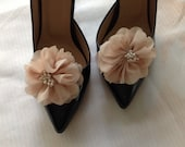 prom,FOR graduations dress shoe, FOR homecoming shoe,  prom shoe Chiffon Floral Shoe buckle - powder