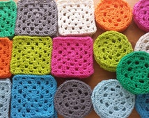 4 Hand Crocheted Coasters, Pick a Color, Four Inch Handmade Cotton Coasters, Granny Square or Round Coasters