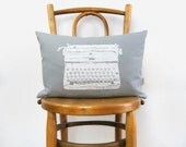 12x18 vintage typewriter lumbar pillows | Grey and white decorative throw pillow case, cushion cover | Modern home decor, Industrial Accent