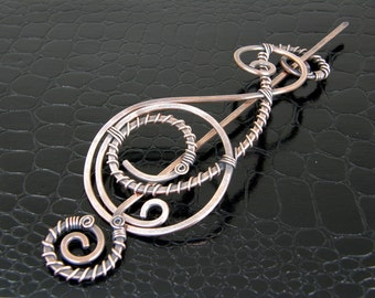Wire Wrapped Steampunk Design Antiqued Copper Shawl Pin, Scarf Pin, Brooch - Made In USA