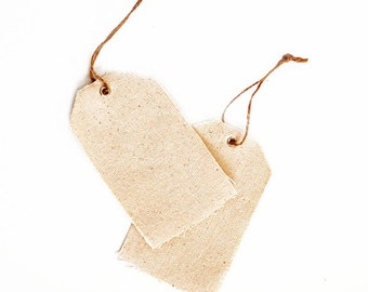 12 Natural Canvas Tags - Gift/Favor Tags - Wedding/Bridal Shower Tags