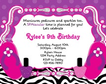 Spa Party Invitation - Zebra Print - DIY Printable Birthday Party Invites - Digital JPEG FIle(Pink Purple)