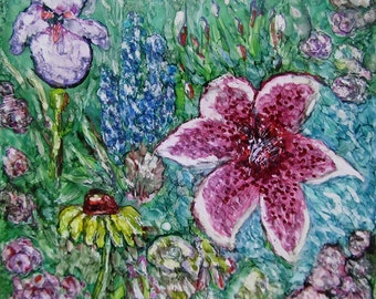 Flower Garden Alcohol Ink on Tile...4..375x4.375 inch ceramic tile