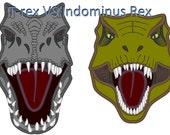 T-rex VS Indominus Rex machine embroidery applique designs 4x4, 5x7 and 6x10 INSTANT DOWNLOAD