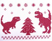 Indominus rex with t-rex dinosaurs Christmas cross stitch - machine embroidery designs set - multiple sizes, for hoops 4x4, 5x7 and 6x10
