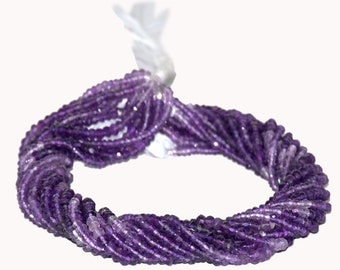 AAA Quality Amethyst Shaded Faceted Rondelles 3.5mm to 4mm 14 inch strand.