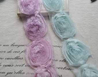Shabby Rose Lace Trim 3D Rosette Rose Trim DIY Supplies 2.36 Inches Wide 1 Yard