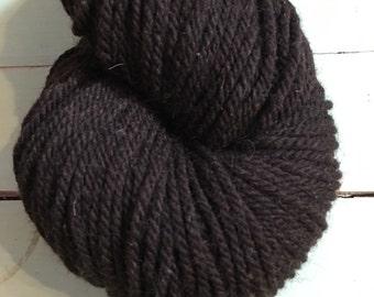 Organic Worsted Weight Wool Yarn, Natural Dark Brown, 3 ply, 250 yards, 8 oz, Jacob Sheep Wool, Farm Raised, Mill Spun, Farm to Fiber