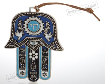 Blue Hamsa hand Wall Hanging decor Lucky CHAI Judaica Kabbalah evil eye #MT_WH_10cm_hamsa_silver_chai-blue