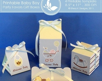 50% off Printable Baby Boy Shower Party favors gift box ////// 002