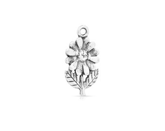 Flower Pendant Charm Sterling Silver 22.2x12.7mm - 1pc High Quality (3298)/1