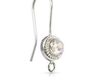 Sterling Silver 4.0mm CZ Fancy Bezel Ear Wire w/Ring  - 1pr (4495) 15% discounted price HIgh quality Made in USA