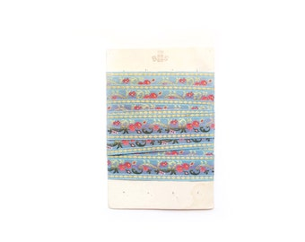 Vintage French Trim, Blue Embroidered Trim, Flower Trim
