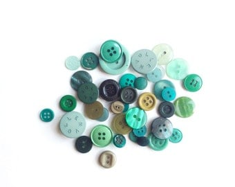 Assorted Green Buttons, 40 Vintage Green Buttons, Lime, Grass