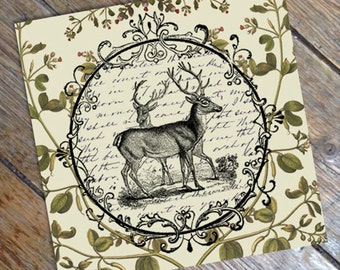 Woodland - Vintage Stlye Antique Deer and Botanical Print from Curious London