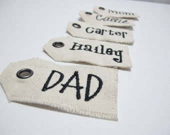 Embroidered name tag for personalization for stockings, gifts, or anything