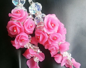 Polymer clay rose earrings,roses,flower jewelry,baby pink
