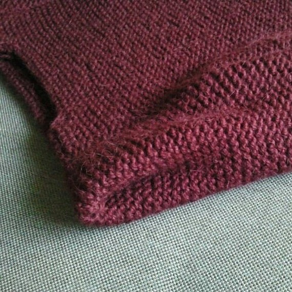 READY TO SHIP Spring sweater long sleeves hand knit sharp shoulder cropped sweater modern clean burgundy wine red spring summer trends ooak