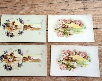 Romantic Style Postcards Vintage Flower Cards Great for Scrapbooking or Cottage Style Decor Farmhouse Style and Rustic Decorations