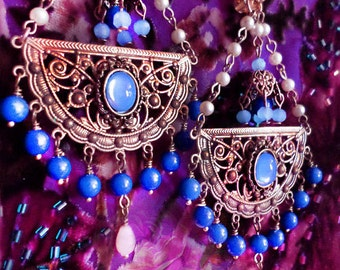 "4"" Long Periwinkle Blue & Cream Pearl Exotic Moroccan Chandelier Earrings, East Indian, Cobalt Blue, Bohemian Brass Jewelry, Clip-On Option"