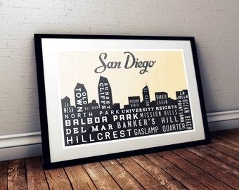 Typography Art, SAN DIEGO Skyline, Poster Print, Modern Art, Wall Decor, Retro Poster, Rustic Decor, Holiday Gift 18 x 24