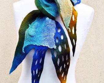 Beautiful scarf, nuno felted scarf, silk, wool, nuno, felted, gift, fibre art, blue, yellow, green