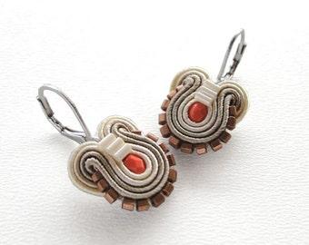 Orange Earrings Orange and Brown Earrings Orange Drop Earrings Small Drop Earrings Small Dangle Earrings Soutache Earrings Brown Drop Earing