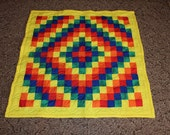 ON SALE!!! Handmade Baby Quilt Trip Around the World Pattern Yellow , Orange, Red, Blue, Green Bright Primary Colors Quilt Ready To Ship
