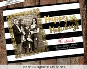 family Christmas card printable photo holiday card digital lace black white stripe personalized custom xmas any colors wording (item 815)