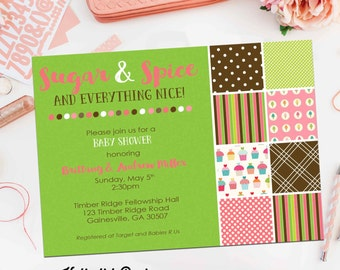 sugar and spice invitations baby shower themes ideas sprinkle sip and see diaper couples digital printable file item 1346b shabby chic
