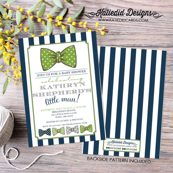 little man bow tie baby shower bow tie baptism diapers for dad co-ed baby shower navy green stripes invitation couple 12102 Katiedid Designs