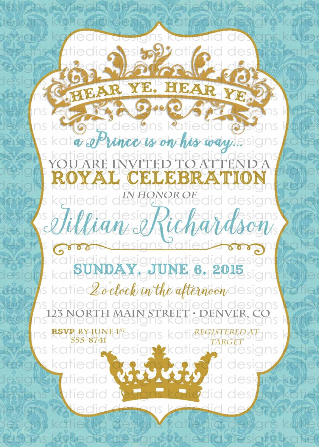 prince baby shower invitation Once upon a time storybook book