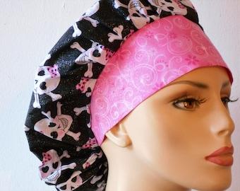 Scrub Hats Bouffant Glitter Skulls with a Pink Bow and a Pink swirl Glitter Headband Surgical Scrub Hat Medical Scrub Hat