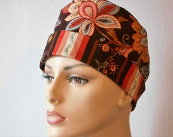 Pixie Scrub Hat Fall Floral Design with a Striped Inside Pixie Tie Back Chemo Cap
