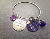 Dance Like No one is Watching Scottish Tartan Bangle Bracelet with Sapphire Birthstone, Highland Dance, Scotland Jewelry Purple and Blue