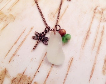 Dragonfly Charm Necklace with White Scottish Sea Glass, Beach Jewelry, Copper Chain