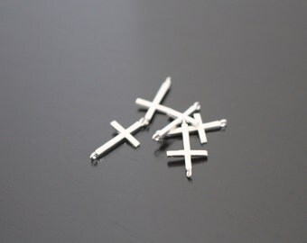 Matte Silver Sideway Cross connector bead disk Earring and Necklace Findings, pendants, 2 pc K617746