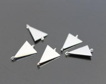 Silver tarnish resistant Triangle Charms with three loops, connectors, pendants, 2 pc, B79983